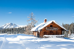 Never miss an opportunity to see something beautiful. (catrall) Tags: austria österreich upperaustria oberösterreich snow schnee winter lodge chalet hütte hut cabin outdoor architecture blue sky white way path nikon d90 nikkor nikkorlens 18105