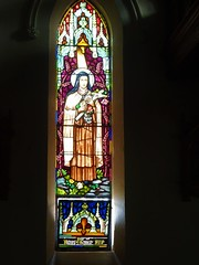 Gundagai. A memorial stained glass window for Richard Kennedy. Of course it is in the Catholic Church. (denisbin) Tags: gundagai rusconi frankrusconi marble marblemasterpiece masterpiece tuckerbox dogonthetuckerbox temple sculptor carving nswmarble catholic stainedglass window church