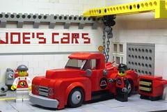 Ford F-1 (1/4) in Joe's Garage (captain_joe) Tags: toy spielzeug 365toyproject lego minifigure minifig moc car auto 6wide ford f1 dynamike mikethemechanic joescars