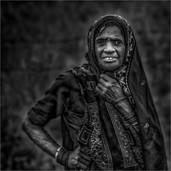 Modest pried (felixvancakenberghe) Tags: asia asian blackandwhite bw people india monochrome portrait woman smile z