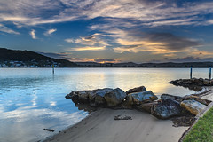Sunset over the Bay with High Cloud (Merrillie) Tags: daleyspoint blackwall landscape sunset nature australia mountains evening rocks brisbanewater bookerbay sthubertsisland clouds coastal twilight outdoors waterscape sea centralcoast bay water