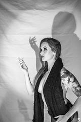 MelKristinCreep-7 (Onelog Photography) Tags: dark creepy blackandwhite smoke vintage spotlight shadow studio strobe grain latex dominatrix booty boobs cleavage wolf contrast