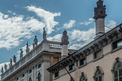 Palazzo Maffei (completed 1668) with statues of Greek gods, Piaz (R H Kamen) Tags: 16thcenturystyle 16thcentury italy veneto veronaitaly architcture balustrade buildingexterior classicalstyle day facade mannerist outdoors palace palazzo rhkamen roof statuary statue verona
