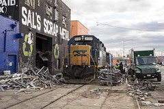 The Explosion at Sal's (The Industrial Railfan) Tags: elchlok theindustrialrailfan henrydell railway railroad train switching industrialswitching spur huntspointcooperativemarket streetrunning