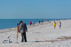 Beach Artist (mirahu) Tags: unitedstatesofamerica us beach sanibel gulf mexico painting artist ocean waves strolling sand