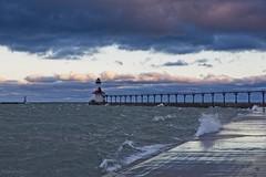 Michigan City Lighthouse Sunrise (Alan Amati) Tags: amati alanamati america usa us indiana city michigan lake jetty light lighthouse pier sunrise earlymorning early earlylight clouds cloudy choppy windy windswpt shore water