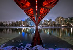Peace Bridge, Calgary, Alberta (Margarita Genkova) Tags: urbanscape cityscape city red bridge reflection canada alberta calgary peacebridge