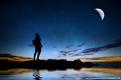 Never lose (gusdiaz) Tags: photoshop photomanipulation landscape wonder trek hike hiker moon beautiful surreal reflection luna water reflejo lago pond lake agua naturaleza amazing stars estrellas sky cielo silueta