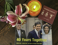40 Years Together 20 in Brazil and 20 in the USA (+5) (soniaadammurray - On & Off) Tags: iphone book weddingday marriage romance love life flower candle napkin joke together smileonsaturdays crazystilllife art challenge men women people humorous sos