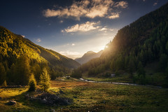 Brighten the Darkness (Manuel.Martin_72) Tags: graubünden swissalps switzerland autumncolors enchanting lightdrama magic fields forest grass green hills mountainslope mountains plants treetrump trees valley woods clouds glow sun sunrise morning wbpa ch