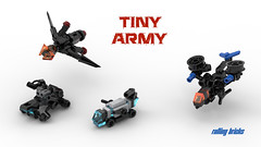 tiny army (Rolling bricks) Tags: lego microscale army sci fi tiny render studio airplane copter tank