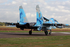 Sukhoi Su-27 UB Flanker Ukrainian Air Force taxiing at Kleine-Brogel Spotter 7 september  20182018-09-07 10-34-39_0552 mod et signée (vincent.lempereur) Tags: su27 fighter chasseur avion plane militaryaircraft militaryaviation airshow aircraft air