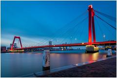 Willemsbrug Rotterdam (Rob Schop) Tags: longexposure nd64 bluehour hoyaprofilters morning rotterdam willemsbrug oosterkade sonya6000 samyang12mmf20 wideangle f56 city bridge holland redlight