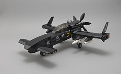 A-32 RAVEN - Light Attack Aircraft (Red Spacecat) Tags: aircraft lego moc redspacecat fighter plane missile rocketpod turboprop propellor attacker raven
