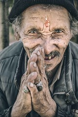 Smile with Me (Roberto Pazzi Photography) Tags: portrait people street eyes travel old man nepal face asia beard kathmandu elderly elder finger culture place photography cap glance hand one person closeup outdoor nikon ring smile