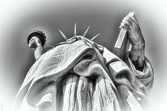 Looking up for Liberty (tatzlum.photo) Tags: 50mm blackandwhite monochrome travel newyork usa statue liberty icon upskirt