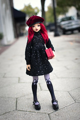 Shopping Day (Rebecca in FL) Tags: redhair streetphotography bjd doll unoalusis beret sequindress sweaterdress browneyes kittysocks shopping redlips lakeland florida
