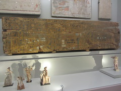 Egyptian panels and figures CaixaForum, Madrid, June 2018 (d.kevan) Tags: exhibitions caixaforum ancientinstruments displaycabinets june2018 madrid spain exhibits figures ceramic plaque egytian musicians script painting