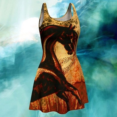 #etsy shop: Horse Fit and Flare Dress - Horse through Web of Fire Batik https://etsy.me/2Ei5UsX. #batik #dress #horseart #artclothing #blackstallion #amityfarmbatik