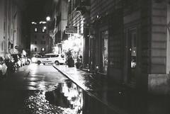 Roma (goodfella2459) Tags: nikonf4 afnikkor50mmf14dlens kodaktrix400 35mm blackandwhite film analog night roma city streets italy rome buildings light bwfp