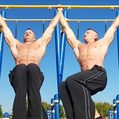 hanging ab leg raises (ddman_70) Tags: shirtless pecs abs muscle outdoor workout sweatpants calisthenics