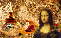 Travel the World (myphotomailbox) Tags: old card eiffel car taxi stamps monalisa fantasy surrealistic yellow paris painting