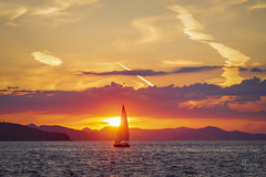 Croatian Sunset Sail (RobertCross1 (off and on)) Tags: 45mmf18mzuiko adriatic croatia dalmatia dubrovnik em5 europe hrvatska omd olympus atardecer boat clouds island landscape puestadelsol sail sailboat sea ship sunset water