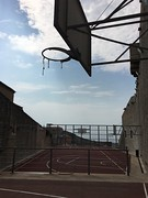 Slam dunk? (mergemind) Tags: dubrovnik croatia kroatie city tennis tenniscourt court old oldtown blauwelucht bluesky sea roof daken red citytrip sun basket basketball playground asymmetrical asymmetrisch solid clouds fench sportveld speelveld coast coastal iphoneography