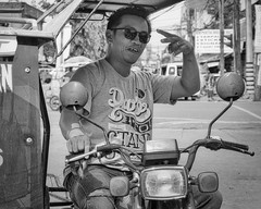 Hey Dude (Beegee49) Tags: street portrait man public transport tricycle rider sony a6000 blackandwhite monochrome bw smiling happy planet bacolod city philippines asia happyplanet asiafavorites