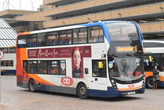 SE 10870 @ Peterborough Queensgate bus station (ianjpoole) Tags: stagecoach east alexander dennis enviro 400mmc yx67vdf 10870 working route 1 ferryview orton wistow three horseshoes werrington