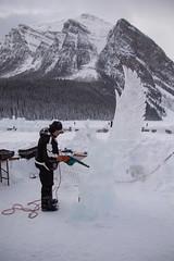 Ice Sculpturers at Work (Lee Rosenbaum) Tags: sculpture banffnationalpark landscape art icesculpture people alberta mountains ice canada lake lakelouise snow mountain