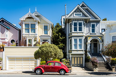 Colours from SF (cedant1) Tags: car beetle vw cox houses california usa unitedstates sf sanfrancisco victorian wood red volkswagen vintage stairs street nikon d750 architecture light sunny streets oldcar windows