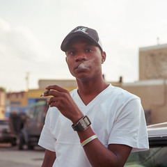 (patrickjoust) Tags: mamiya c330 s sekor 80mm f28 kodak ektar 100 tlr twin lens reflex 120 6x6 medium format c41 color negative film manual focus analog mechanical patrick joust patrickjoust baltimore maryland md usa us united states north america estados unidos urban street city man smoking cigarette