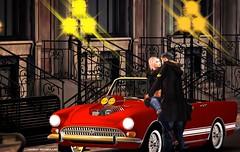 No712 (ashraf rathmullah) Tags: race car man woman old style light red parka london stairs reflex