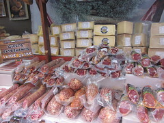 Cheese and cured meats,    The Cervantine Fair, Alcalá de Henares, October 2018 (d.kevan) Tags: cervantinefair alcaládehenares october 2018 streetscenes stalls signs madrid food cheese curedmeat