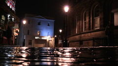 """"""" On Every Other Street """" (hope2029) Tags: bokeh cobbles lamps vivid street shadows lights night evening leeds west yorkshire rain"""