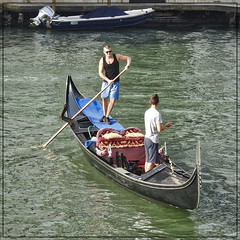 Young Gondoliers (FotoFling Scotland) Tags: venice italy gondoliers gondola men male boat glasses