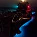 USS Jason Dunham transits the Bab al-Mandeb strait at night.