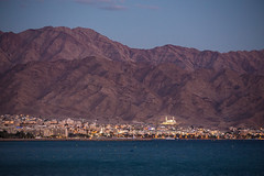 Aqaba (Pawel Wietecha) Tags: aqaba jordan city lights sunset mountains sea gulf blue dark brown sky mosque redsea landscape water evening travel