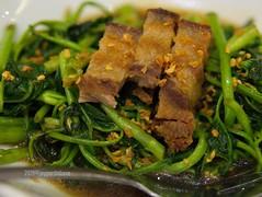 Lechon Kangkong (jperthllave) Tags: food eat ate dinner meal 425mm lumix lumixg425mmf17 panasonic lechonkangkong kangkong lechon pork vegetables romuloscafe restaurant muntinlupa alabang