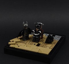 006 - On the Arkham Knight's Trail (Alex THELEGOFAN) Tags: lego legography minifigure minifigures minifig minifigurine minifigs minifigurines batman arkham knight catwoman dc comics super heroes wood vignette trail