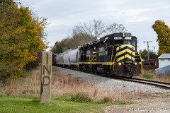 IN 2230 @ Ray, MI (Michael Polk) Tags: indiana northeastern emd gp30 2230 freight train michigan state line marker ind ohio