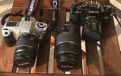 Old, analogue 35mm SLRs by Canon (ioannis_papachristos) Tags: gear equipment canonfdlens canonfd3570zoomlens fd35–70lens canon slr singlelensreflex camera body camerabody analogue 35mm film 35mmfilm eos eos300 apparatus photo photography photographiccamera canoncamera canonlens lens zoomlens canoneflens eflens ef28–80lens 28–80mmlens zoom old al–1camera al1camera canonal1camera canonal1slr canonal–1 canonal1 al1 al–1