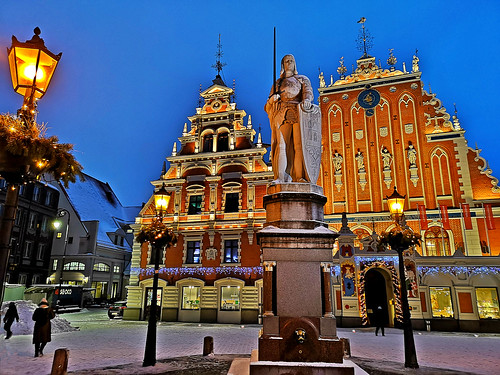 Town Hall Square view with House of Blackheads and Roland's statue. Riga, Latvia. January 15, 2019