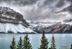 Bow Lake in Banff National Park with Crowfoot Mountain on the left (PhotosToArtByMike) Tags: bowlake crowfootmountain banff banffnationalpark bowriver icefieldsparkway westernalberta canadianrockies albertacanada mountain mountains