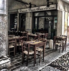 """Mantova"" (giannipaoloziliani) Tags: portici arcades lightandshadow hard angle italia italy nikonphotography nikoncamera nikon streetphotography dark darkness colors grains restaurant hdr lombardia mantua mantova"