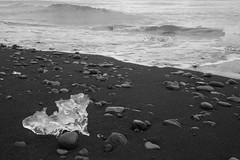 Ice Crystal (peterkelly) Tags: bw canon 6d europe iceland gadventures bestoficeland northatlanticocean ice berg bergybit shore coast water black sand beach jökulsárlónglacierlagoon