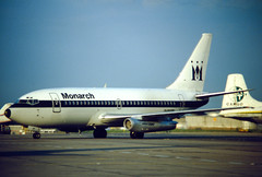 Monarch 737-200 (Martyn Cartledge / www.aspphotography.net) Tags: aerodrome aeroplane air aircraft airline airliner airplane airport aspphotography aviation cartledge civilairline civilairliner flight fly flying jet man manchester martyn plane runway transport wwwaspphotographynet uk asp photography flywinglets
