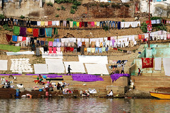 Open air laundrette... (Varanasi) (Zé Eduardo...) Tags: laundrette river ganges varanasi india asia people colors stairs ghat clothes uttarpradesh town urban city water