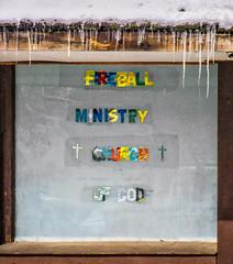 Fireball Ministry (westbymidwest) Tags: cincinnati religion sign window church elmwoodplace ohio